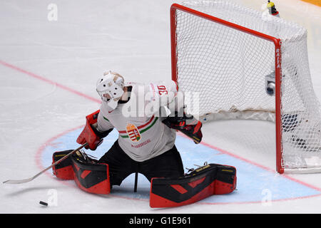 St. Petersburg, Russia. 13th May, 2016. Adam Vay of Hungary catches the puck during an IIHF Ice Hockey World Championship - Stock Photo