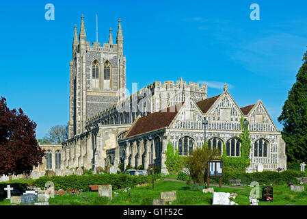 Holy Trinity Church - and adjoining Lady Chapel - in the village of Long Melford, Suffolk, England UK - Stock Photo