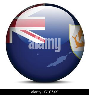Map on flag button of Anguilla - Stock Photo