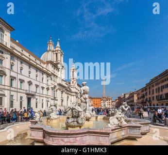 Rome, Italy.  Piazza Navona. Looking north, over the Fontana del Moro, or Moor's Fountain. - Stock Photo