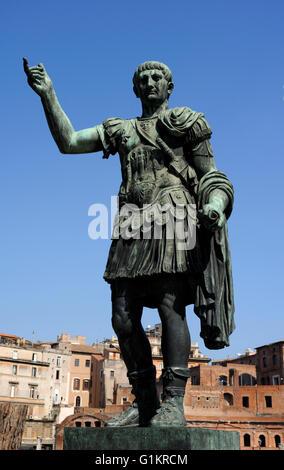 italy, rome, bronze statue of the roman emperor trajan - Stock Photo