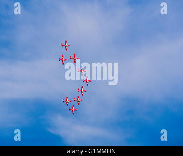 The Snowbirds, Canadian Forces 431 Squadron, air show flight demonstration team, flying over Summerland, BC, Canada - Stock Photo