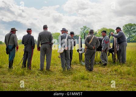 Soldiers at the New Market Virginia, Civil War Battle Reenactment - Stock Photo