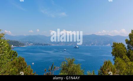 Gulf of Tigullio, Genoa Province, Liguria, Italian Riviera, Italy.  View from Portofino across the Gulf of Tigullio. - Stock Photo