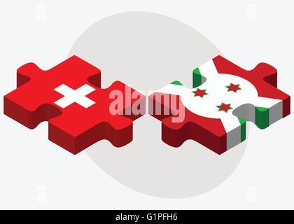 Switzerland and Burundi Flags in puzzle  isolated on white background - Stock Photo