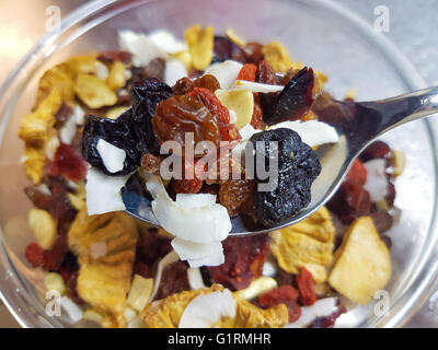 Dry goji, blueberry, lingonberry, coconut, pineapple and banana fruits, on a metal spoon - Stock Photo