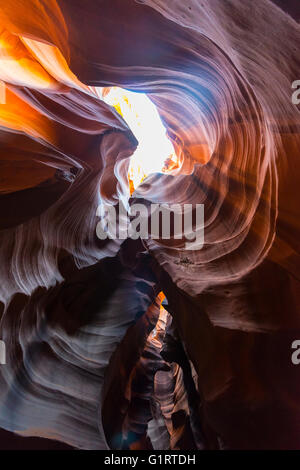 Incidence of light in Sandstone Canyon, slot canyon, sandstone rock, Upper Antelope Canyon, Page, Navajo Nation, - Stock Photo
