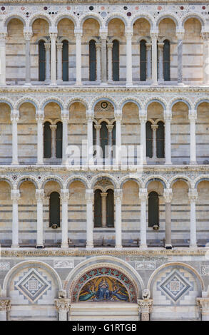 Detail, West facade, Cathedral of Santa Maria Assunta, Piazza del Duomo, Piazza dei Miracoli, Province of Pisa, - Stock Photo