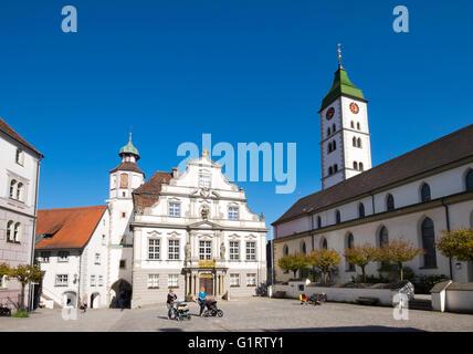 Town Hall and Parish Church of St. Martin, Gallus and Magnus on the marketplace, Wangen in Allgäu, Westallgäu, Allgäu, - Stock Photo