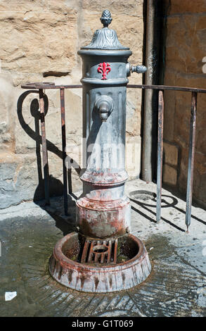 old street drinking water fountain Florence Italy - Stock Photo