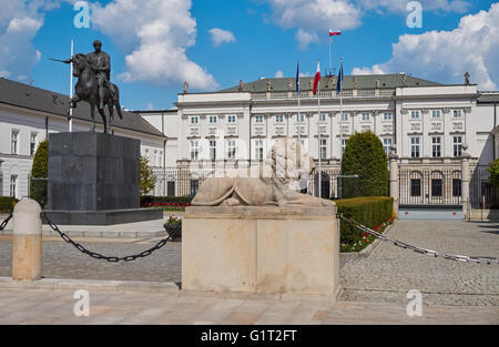 The statue of Prince Jozef Poniatowski in front of the Presidential Palace in Warsaw , Poland - Stock Photo