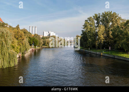 Spree river passing through the Tiergarten in Berlin, Germany in a sunny day - Stock Photo