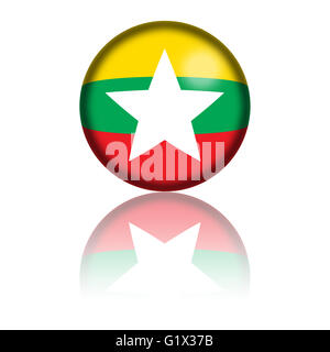 Sphere of Myanmar flag with reflection at bottom. - Stock Photo
