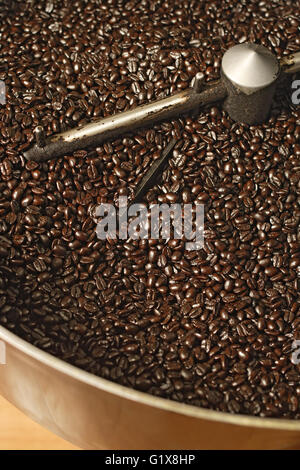 The freshly roasted beans from a large coffee roaster, just before the beans are stirred in the cooling cylinder. - Stock Photo