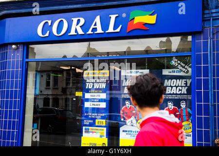 Harringay, North London 20 May 2016 - Coral betting shop in Harringay, North London. Ladbrokes and Coral could be - Stock Photo