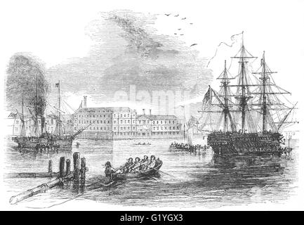 19th Century view of Portsmouth Naval Harbour, Hampshire, England - Stock Photo