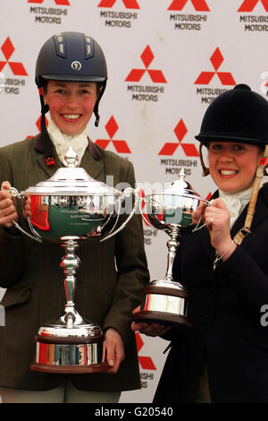 Katie Hancock (left) and Sophie Walker, winners of the Badminton Mitsubishi Motors Cup BE100 and BE90 Championships - Stock Photo