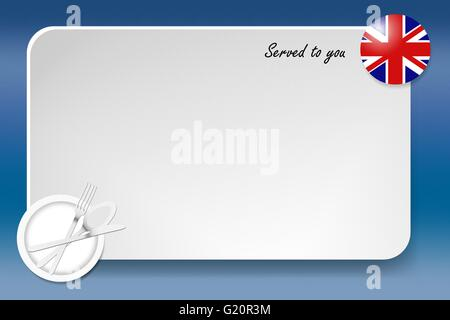 Notice board with inscription inscription Served by and with a British round-flag in the corner. - Stock Photo