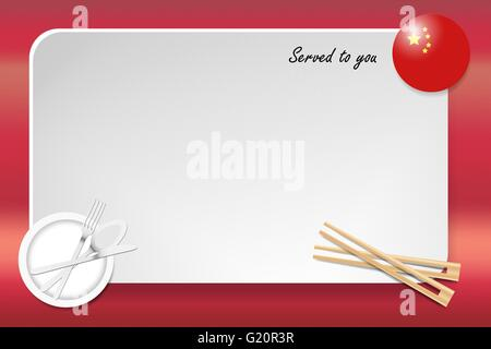 Notice board with inscription inscription Served by and with a Chinese round-flag in the corner. - Stock Photo