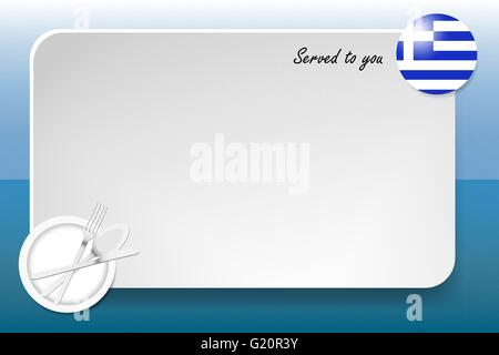 Notice board with inscription inscription Served by and with a Greek  round-flag in the corner. - Stock Photo