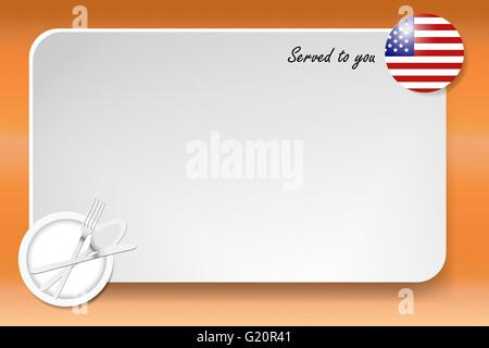 Notice board with inscription inscription Served by and with a American round-flag in the corner. - Stock Photo