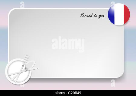 Notice board with inscription inscription Served by and with a French round-flag in the corner. - Stock Photo