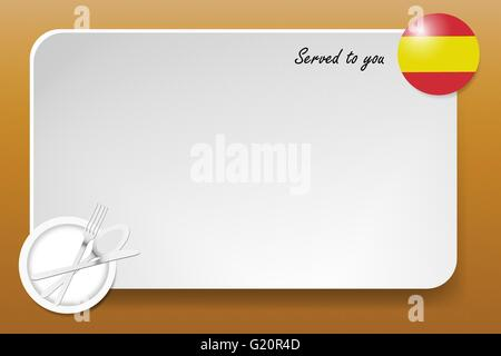 Notice board with inscription inscription Served by and with a Spanish round-flag in the corner. - Stock Photo