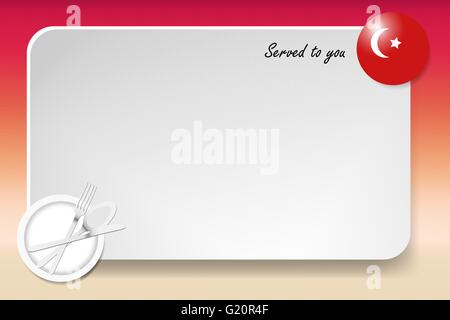 Notice board with inscription inscription Served by and with a Turkish round-flag in the corner. - Stock Photo