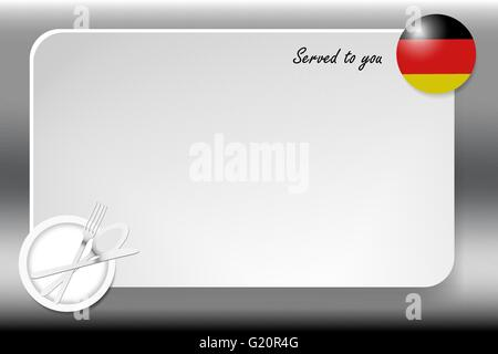 Notice board with inscription inscription Served by and with a German round-flag in the corner. - Stock Photo