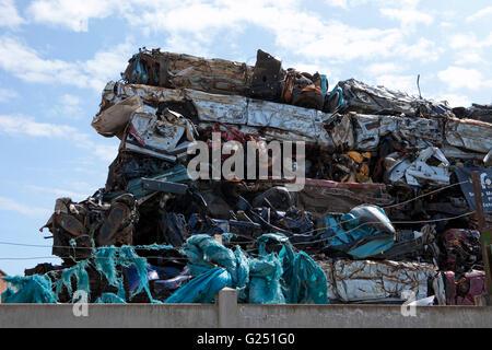 A scrap metal yard in Fleetwood, Thornton-Cleveleys, Flyde Coast, Lancashire, UK - Stock Photo