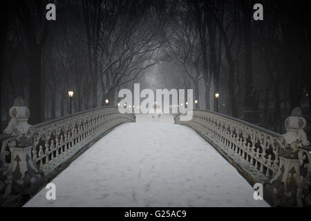 Woman walking over bridge in snow, Central Park, Manhattan, New York, America, USA - Stock Photo
