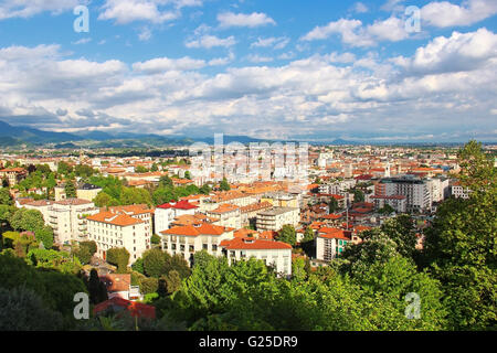 View of Bergamo lower town from upper old town, Italy - Stock Photo