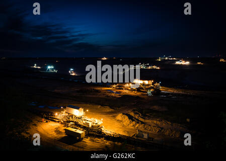 Open-cast coal mining in Germany in the evening - Stock Photo