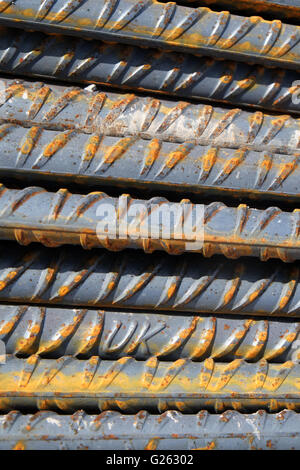 Construction industry, Steel reinforcement bars with UK on them to avoid cheap substandard imported steel May2016 - Stock Photo