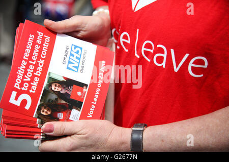 Sloane Square, London, UK 24 May 2016 - Vote Leave campaign leaflet Credit:  Dinendra Haria/Alamy Live News - Stock Photo