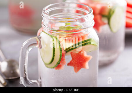 Watermelon and cucumber detox water - Stock Photo