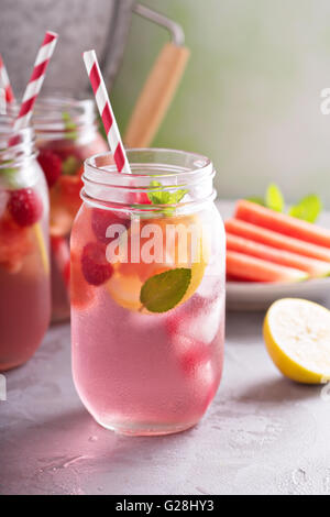 Summer drink watermelon and citrus lemonade - Stock Photo