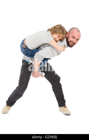 Step father playing with daughter concept on white background - Stock Photo