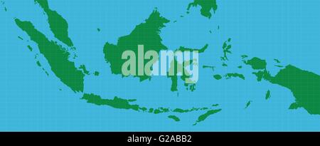 indonesia indonesian map with green and blue background - Stock Photo