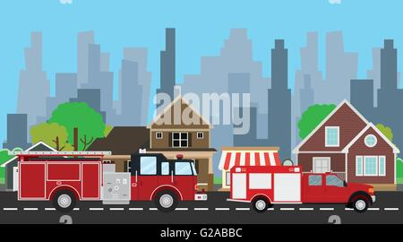 firefighters truck on the way with city home as background - Stock Photo