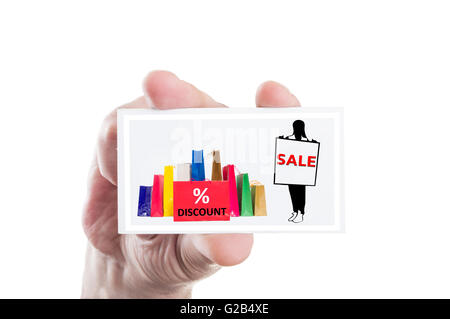 Hand holding sale and discount card isolatd on white background - Stock Photo