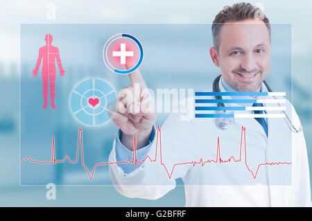 Happy smiling medic touching medical safety cross icon from touchscreen as future medicare concept - Stock Photo