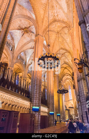 Spain Catalonia Barcelona Barri Gotic Gothic Quarter 14th century Cathedral with 28 chapels roof and columns pillars - Stock Photo