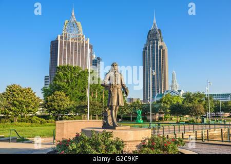 Mobile, Alabama Skyline from Cooper Riverside Park. - Stock Photo