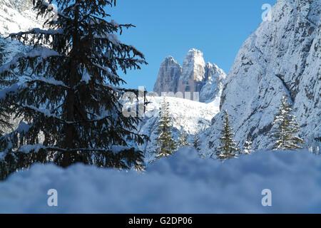 Tre Cime di Lavaredo or Three peaks from the Landro Valley - Italy - Stock Photo