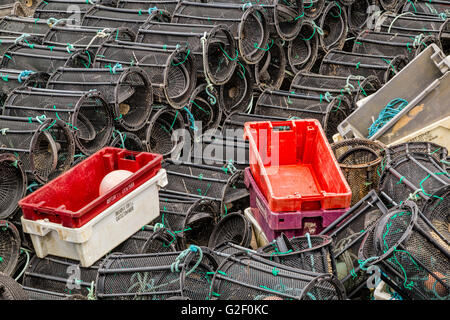 Stacked lobster pots and crates in Glengarriff  harbor, Bantry Bay, Beara Peninsula, County Cork, Province of Munster, - Stock Photo