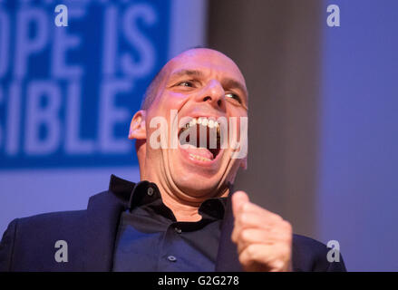 Former Greek finance minister Yanis Varoufakis speaks at a 'Vote In' conference in London. - Stock Photo