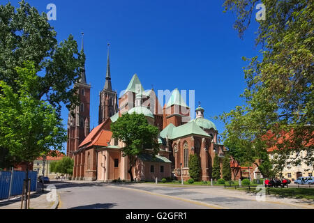 Breslauer Dom in der Stadt - Breslau the cathedral in the city - Stock Photo