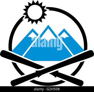 Skis crossed Emblem Mountains - Stock Photo