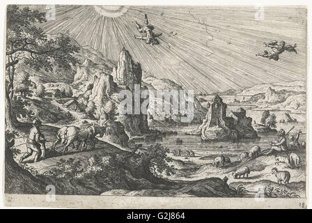 Fall of Icarus, Hans Bol, Anonymous, c. 1550 - c. 1650 - Stock Photo